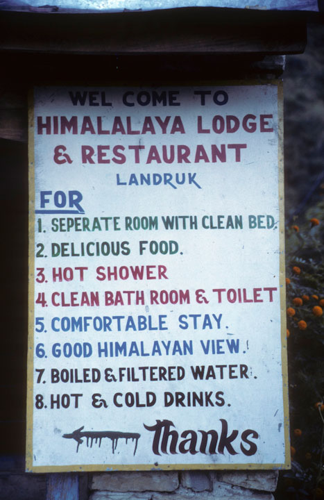 A clear statement of what you get at the Himalaya Lodge and restaurant ion Nepal.