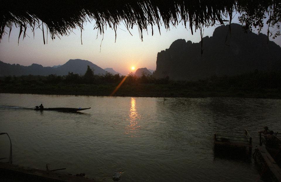 Sunset near Vang Vieng in Laos.