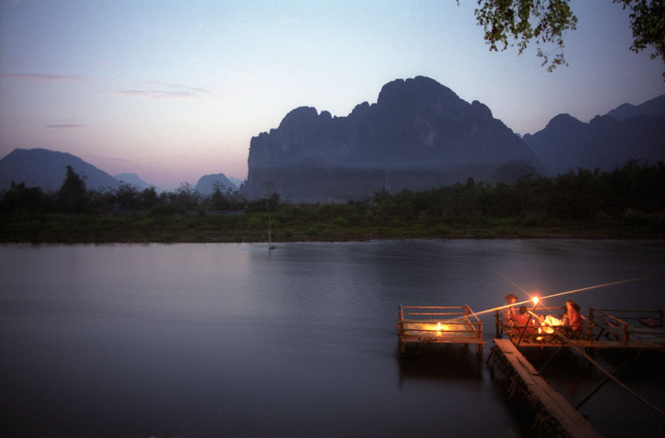Sunset near Vang Vieng, Laos.