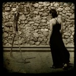Cecilia McAnulty / Hadden approaching a Giacometti at the Maeght Foundation in St Paul de Vence in France.