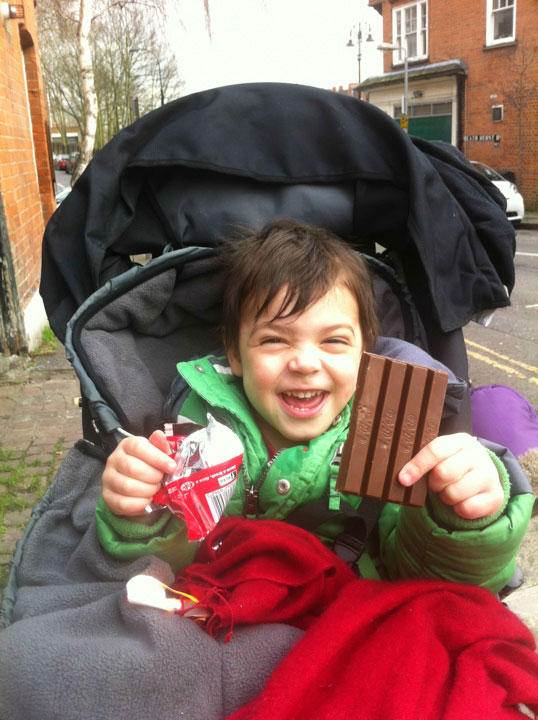 Hitting a major milestone - the first time he has opened a KitKat unaided