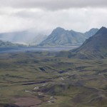 Looking south south towards the Álftavatn area, known as Swan Lake, on the Laugavegur trail in Iceland.